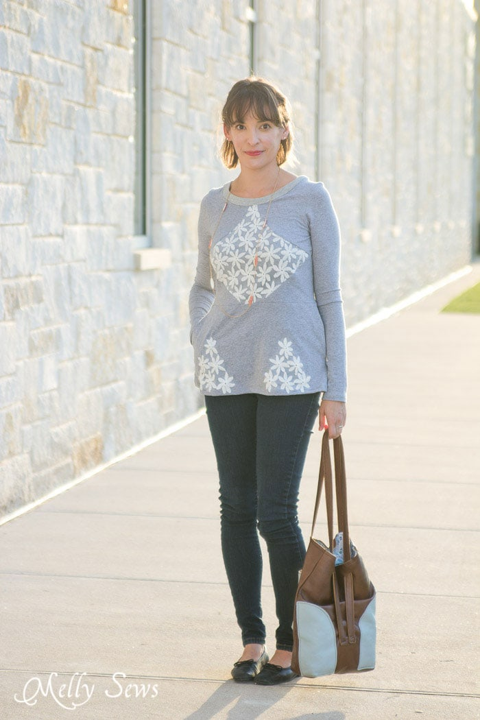 Gray and lace t-shirt - Diamond Top with Lace - Pattern by Shwin Designs for Pattern Anthology, sewn by Melly Sews
