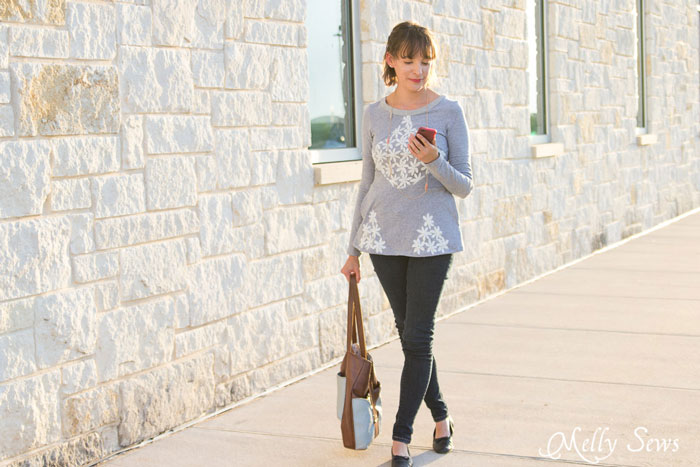 Peplum shirt - Diamond Top with Lace - Pattern by Shwin Designs for Pattern Anthology, sewn by Melly Sews