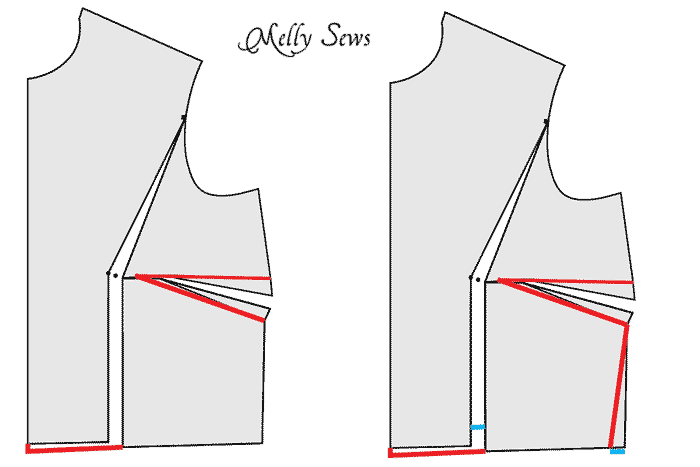 Full bust adjustment no waist dart - how and when to do bust adjustments when sewing for women - Melly Sews