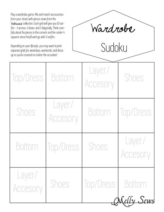 wardrobe sudoku planning a capsule wardrobe with unbiased patterns melly sews. Black Bedroom Furniture Sets. Home Design Ideas