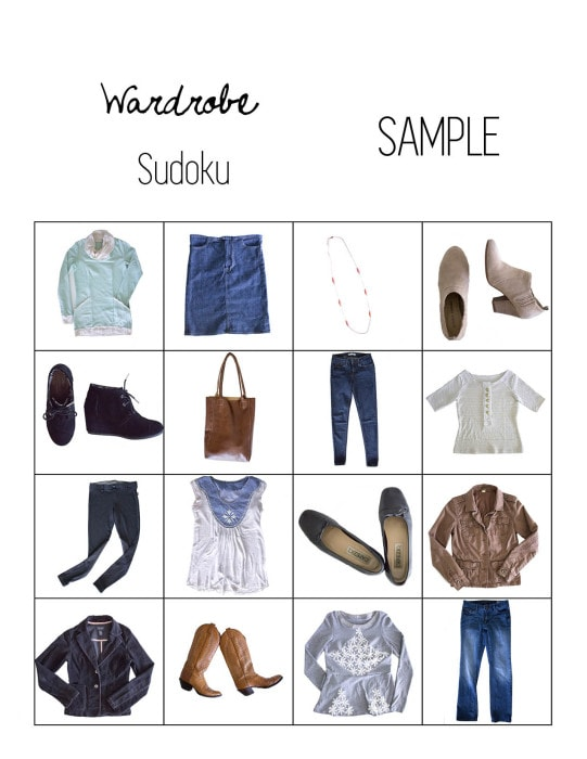Sample wardrobe sudoku - Free download for wardrobe sudoku - a fun way to plan a capsule wardrobe with Pattern Anthology Sewing Patterns