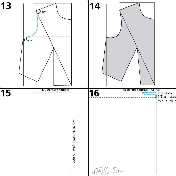 Armscye - Make a bodice pattern - bodice drafting - Melly Sews