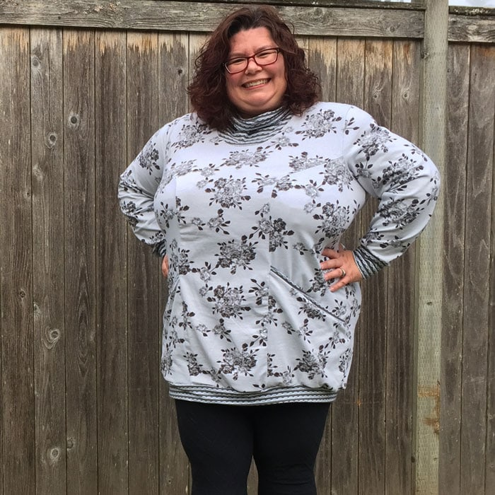 Denver Tunic by Happily Caffeinated for Curvy Sewing Collective in Idle Wild Gray Floral