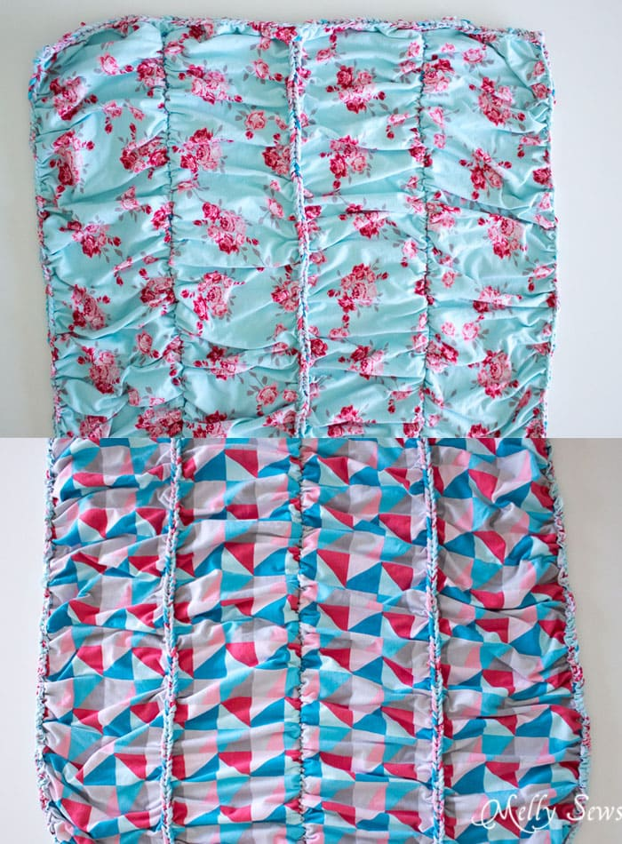 Front and back view - This beautiful knit fabric is almost a no sew blanket project! So pretty, and looks much easier than the final result would have you guess - Melly Sews