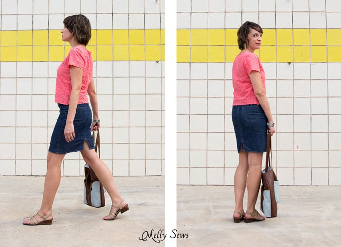 Side and back views - Cropped Boatneck sewn with Shoreline Boatneck pattern by Blank Slate Patterns - Melly Sews
