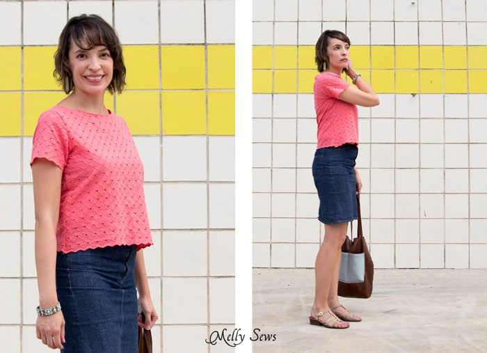 Coral eyelet - Cropped Boatneck sewn with Shoreline Boatneck pattern by Blank Slate Patterns - Melly Sews