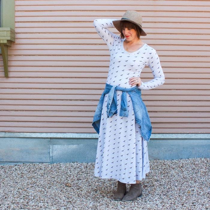 Maxi Dress in Idle Wild Birds Multi by One Little Minute
