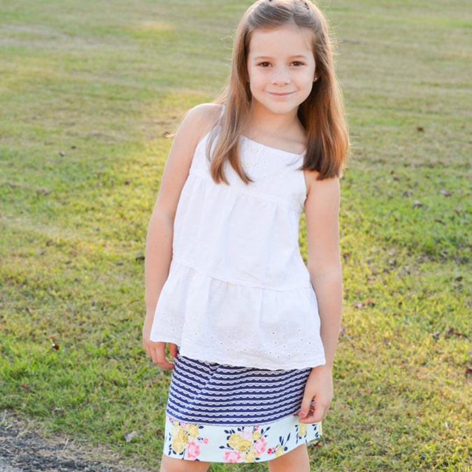 Simple Skirt by crafterhours in Idle Wild Navy Lace and Multi Floral