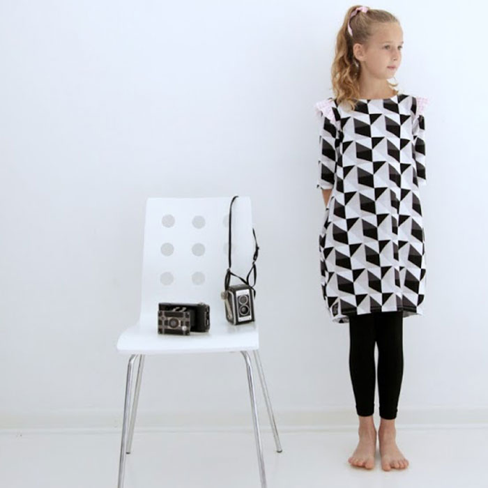 Cocoon Dress by No Big Dill in Idle Wild Black Triangles