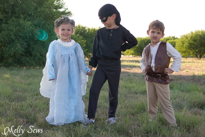 It's the Princess Bride for kids! Make a prince costume with a free pattern - this could also be a pirate or even Inigo Montoya costume - Melly Sews