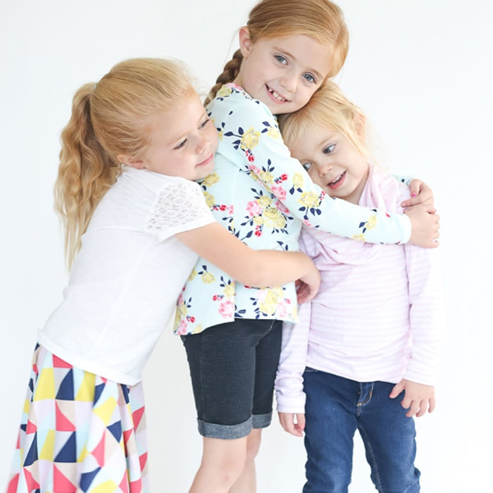 Skirt, Nessie Top in Idle Wild Multi Triangles, Multi Floral and Pink Lace