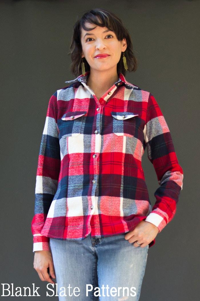 Novelista Shirt Sewing Pattern for women in sizes XXS-3X by Blank Slate Patterns - Long sleeve flannel shirt version