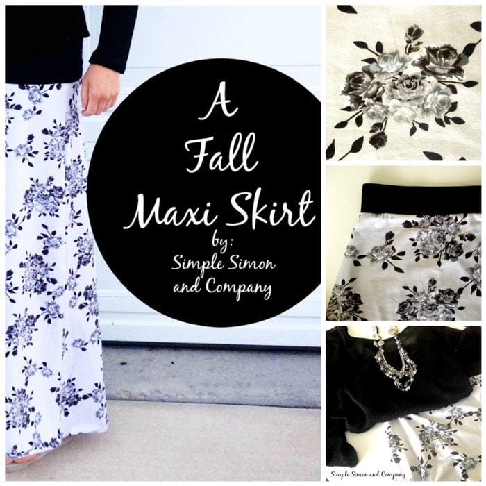 Maxi skirt by Simple Simon and Co in Idle Wild Gray Floral
