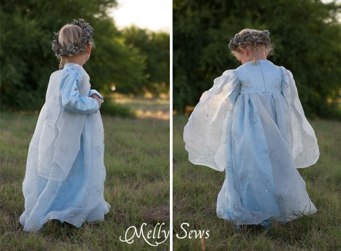 Back view - Sew a Princess Costume with a free pattern and tutorial from Melly Sews - could work for Princess Bride, Elsa, and other characters