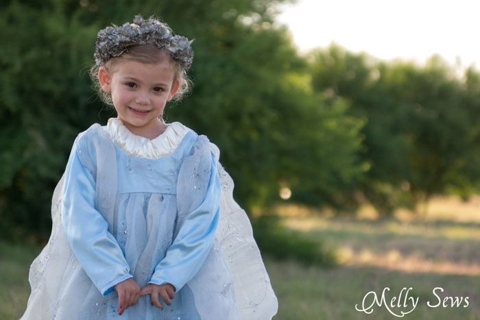 Close up - Sew a Princess Costume with a free pattern and tutorial from Melly Sews - could work for Princess Bride, Elsa, and other characters