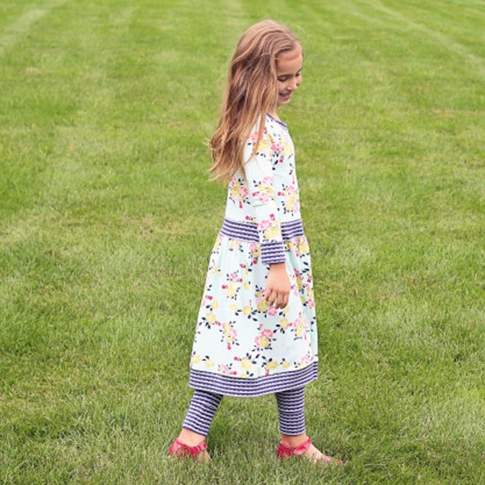 Knit dress by The Cottage Mama in Idle Wild Floral Multi and Lace Navy