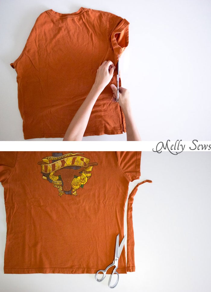 Step 1 - How to fix a t shirt with twisted seams - Melly Sews