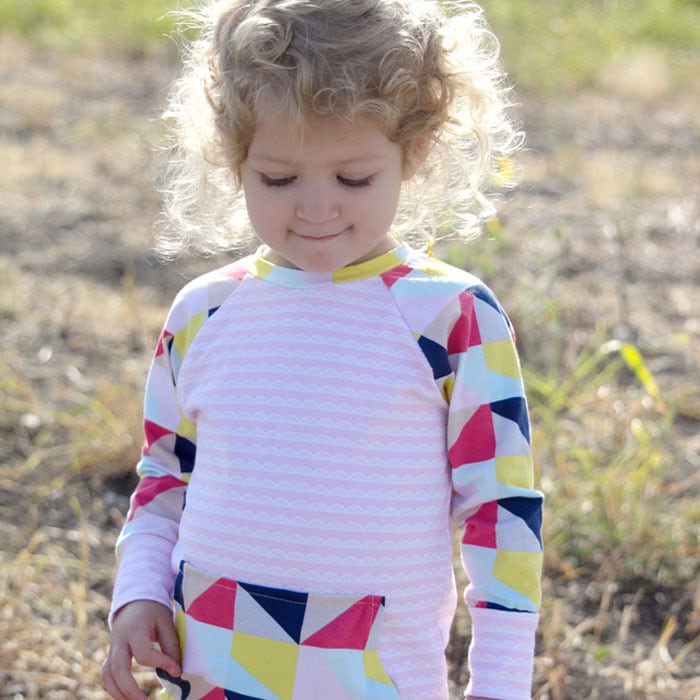 Recess Raglan Dress by See Kate Sew in Idle Wild Pink Lace and Multi Triangles