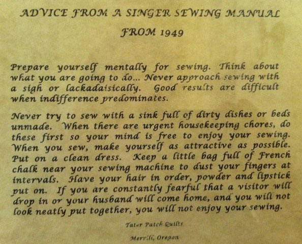 Singer Sewing manual rules for sewing 1949