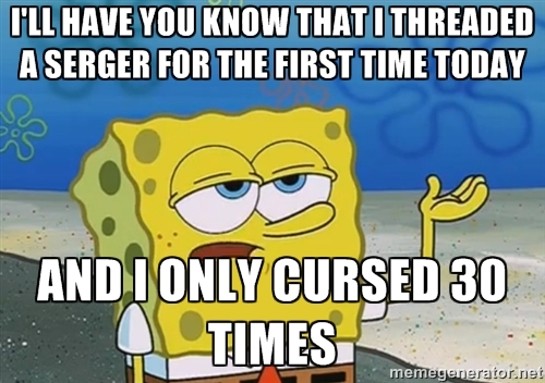 Sponge Bob Serger Threading - the WORST part of having a serger. More sewing humor at MellySews.com