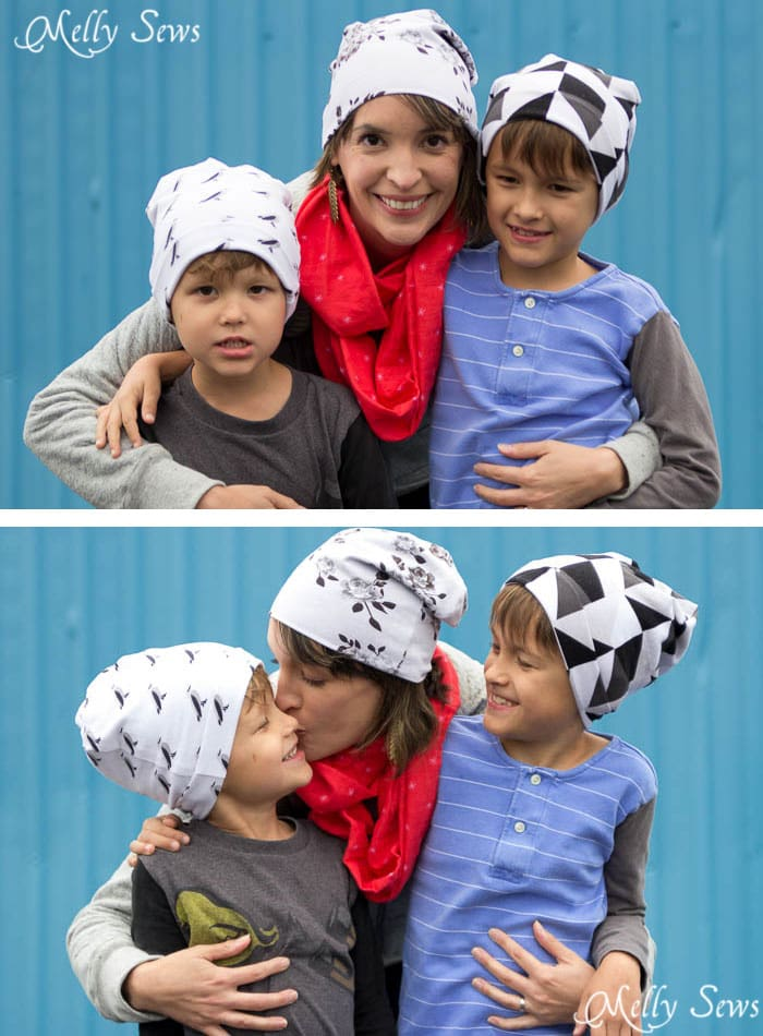 Mom and Boys in hats - Sew a Beanie Hat - Make a slouchy hat in any size with this EASY tutorial - Melly Sews