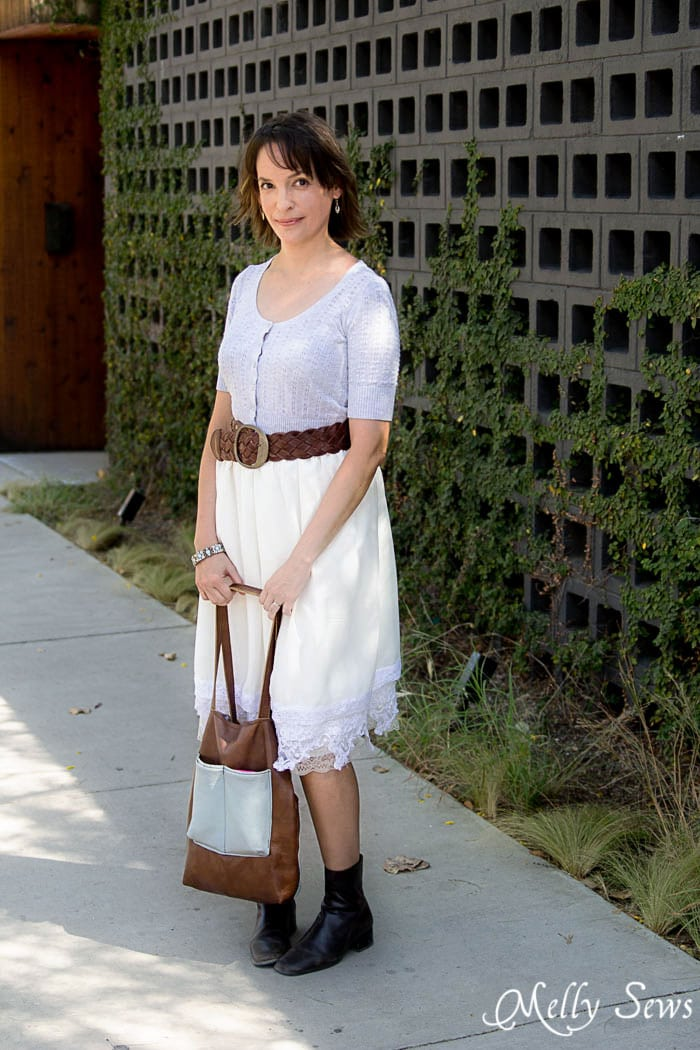 Belted sweater, lace skirt, ankle boots - elements of granny chic style - Vintage Lace Skirt - sewn from Just for You book - Melly Sews