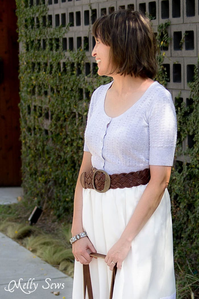Cropped and belted sweater with chiffon skirt - Vintage Lace Skirt - sewn from Just for You book - Melly Sews