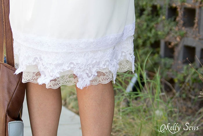What to do with that pretty vintage lace you sometimes find at antique stores - Vintage Lace Skirt - sewn from Just for You book - Melly Sews