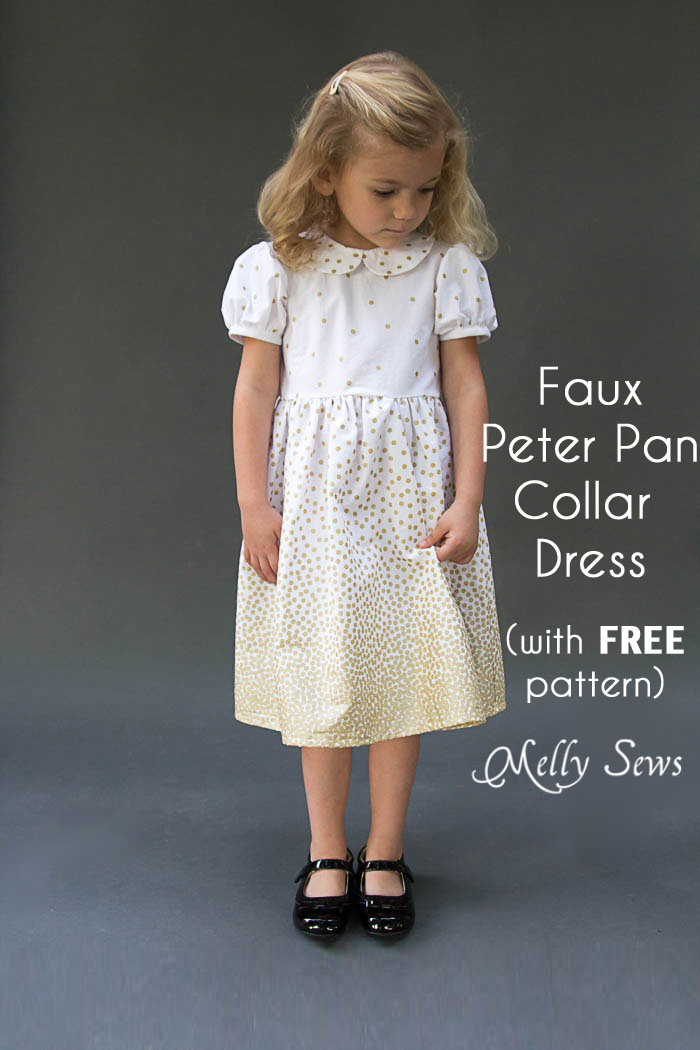 Fiesta Frock - such a cute girls dress! Free 3T faux Peter Pan Collar dress pattern and instructions for more sizes from Melly Sews