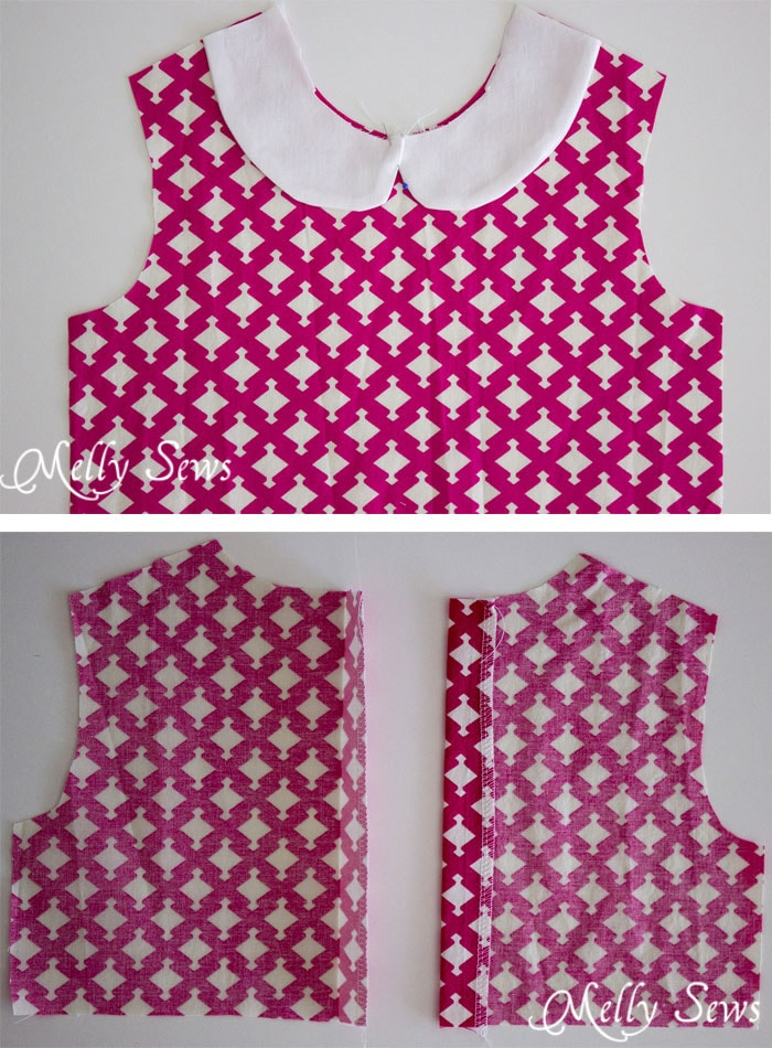 Step 2 - Fiesta Frock - such a cute girls dress! Free 3T faux Peter Pan Collar dress pattern and instructions for more sizes from Melly Sews