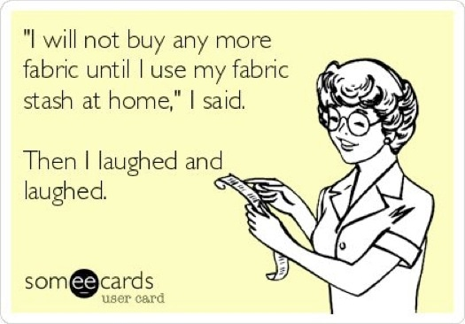 I have all the fabric I need - said no seamstress ever! More sewing funnies at MellySews.com