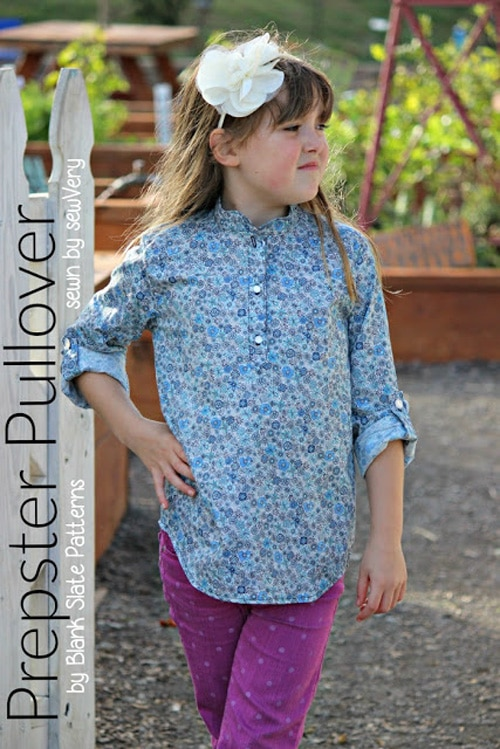 Prepster Pullover shirt sewing pattern by Blank Slate Patterns sewn by sewVery - perfect for boys or girls!