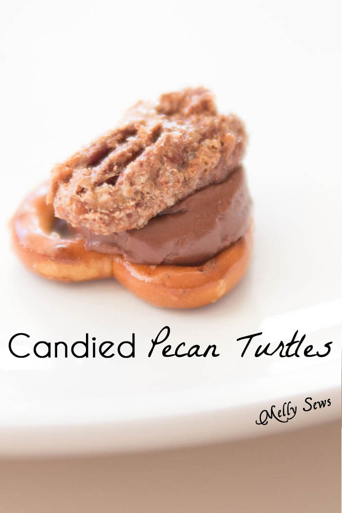 How to make Candied Pecan Turtles - combine two holiday treats into one yummy, over the top bite - Melly Sews