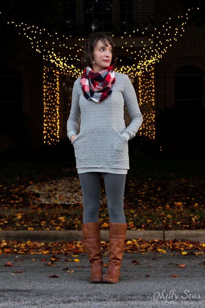 Denver Tunic by Blank Slate Patterns, leggings, Frye Melissa Trapunto boots and flannel scarf - DIY Fashion - Melly Sews