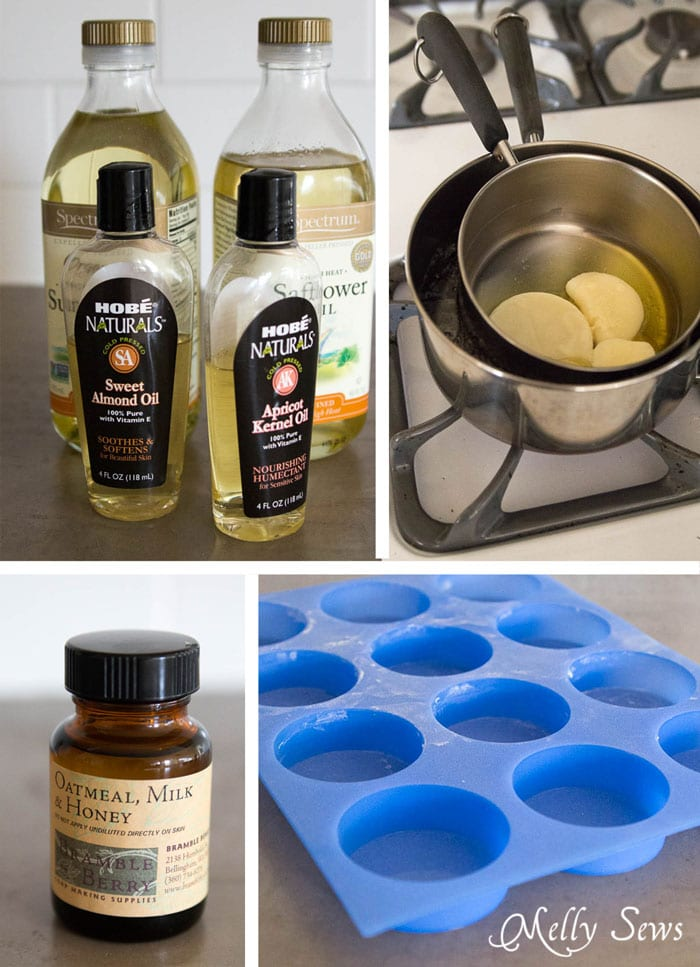 DIY Lotion Bar Ingredients - Great gift! Make homemade lotion bars and cute drawstring bags to store them in! - Melly Sews