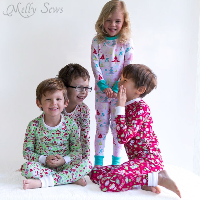 Wanna know a secret? These pajamas for Christmas are easy to make! DIY Sew knit kids Christmas pajamas - with FREE pattern! - Melly Sews
