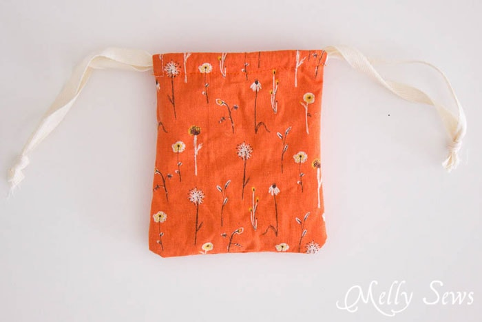 Finished drawstring bag - Great gift! Make homemade lotion bars and cute drawstring bags to store them in! - Melly Sews