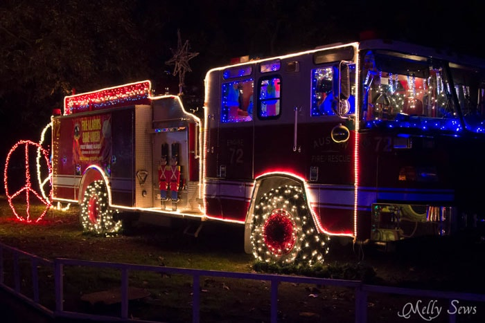 Lighted Fire Truck - Austin Notebook - What to wear and see at the Zilker Trail of Lights - Melly Sews