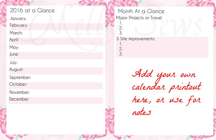 Monthly Overview - Get your blog or business on track for the year with a customized planner. Get the DIY and free printables here - Melly Sews