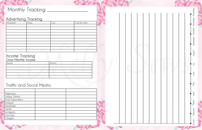 End of Month and Monthly Tracking - Get your blog or business on track for the year with a customized planner. Get the DIY and free printables here - Melly Sews