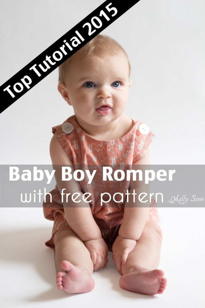 Top 5 Tutorials - Baby boy romper pattern - FREE - with a VIDEO tutorial as well as pictures - Melly Sews