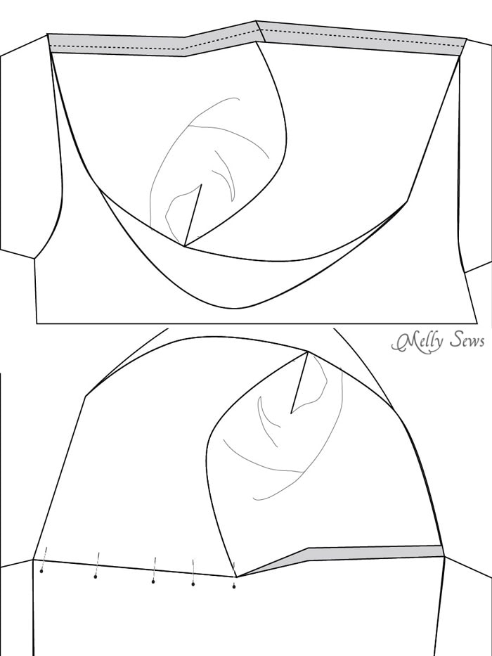 Step 4 - Zippy Jacket Pattern by Blank Slate Patterns - How to add a hood to a shirt or sweatshirt - with FREE pattern - Melly Sews