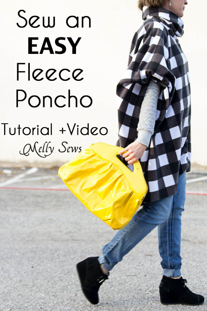 How to Sew a Fleece Poncho - DIY Poncho Tutorial - Melly Sews