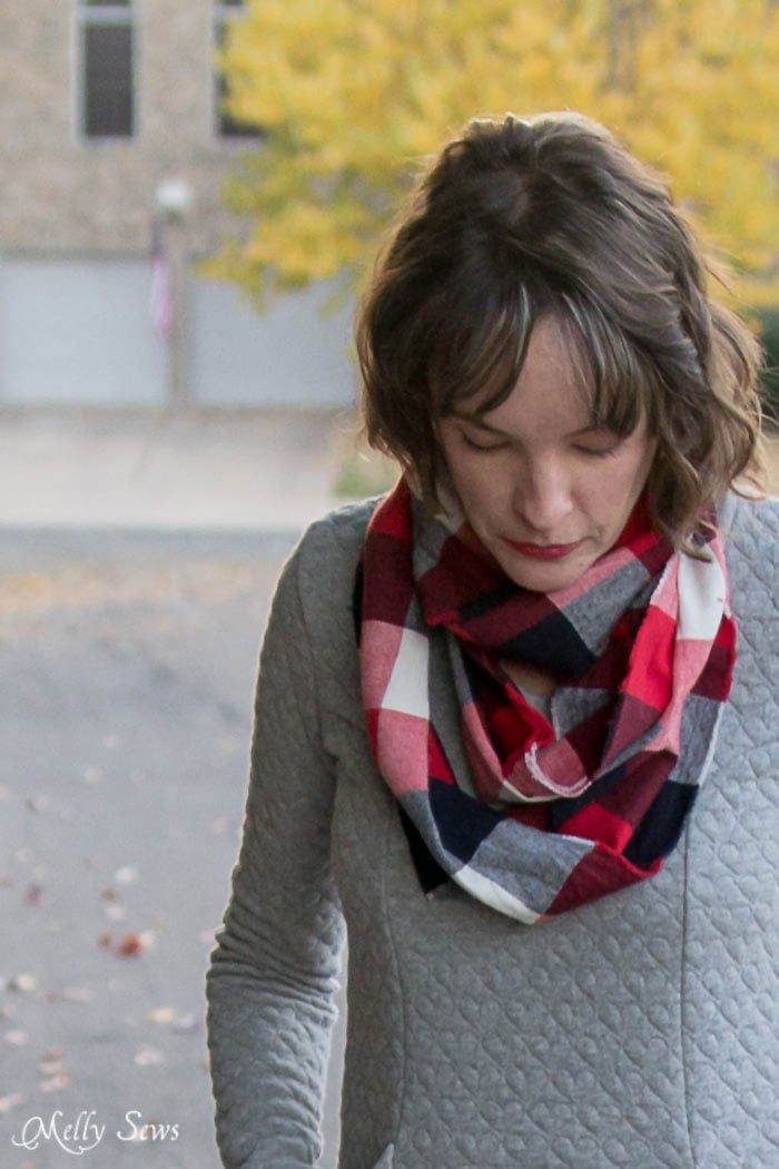 A perfect pop of color - 10 Minute Frayed Edge Scarf Tutorial - sew a DIY flannel scarf - so easy! - Melly Sews