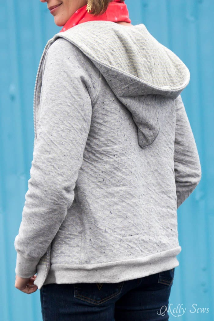 Sew a women's hoodie sweatshirt - How to add a hood to a shirt or sweatshirt - with FREE pattern - Melly Sews
