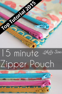 Top 2015 Tutorials - How to Sew a Zipper Pouch - 15 minute sewing project - Melly Sews - great practice sewing zippers
