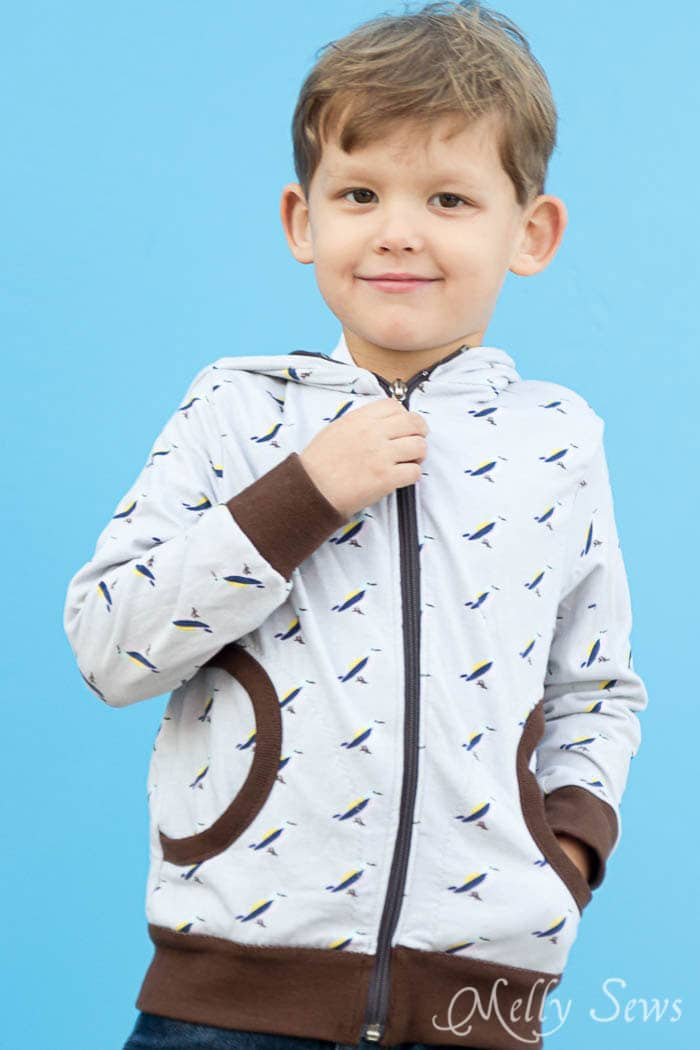 Zippy Jacket Pattern by Blank Slate Patterns - How to add a hood to a shirt or sweatshirt - with FREE pattern - Melly Sews