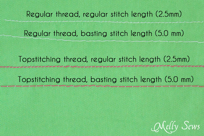 Basting vs regular stitch length - How to Baste in sewing - Sewing Glossary Term - Melly Sews
