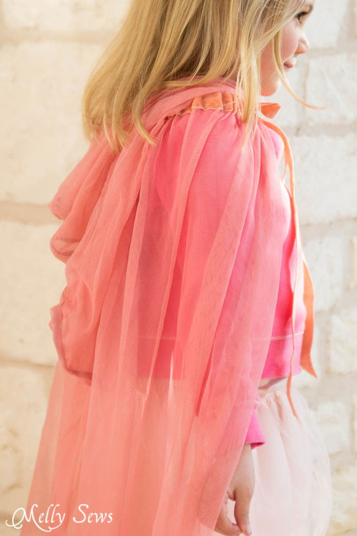 Back view - How to make a fairy princess cape - Easy DIY sewing tutorial by Melly Sews