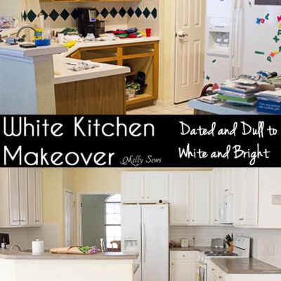 White Kitchen Makeover – Ugly and Dated to White and Bright